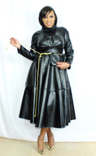 Load image into Gallery viewer, Blackout Vegan Leather Fit and Flare Dress