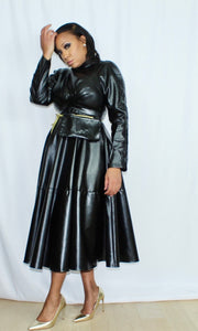 Blackout Vegan Leather Fit and Flare Dress