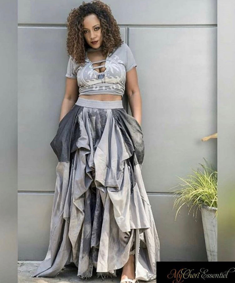 50 Shades of Gray Denim Maxi Skirt ***PREORDER IS NOW CLOSED***
