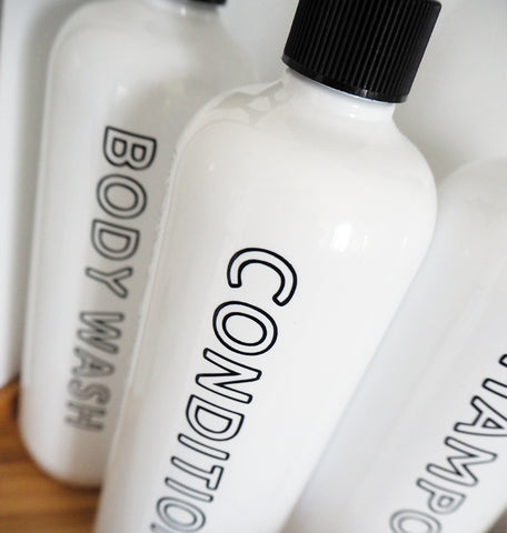 'Celosia' Bathroom Bottle Set - Bottle, Pump and Label incl