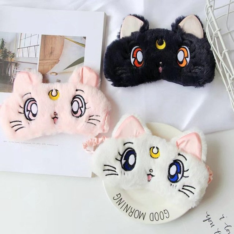 Cute Plush Sleep Eye Mask Cartoon 3D Silk Eye Cover Sleeping Mask Travel Eye Band Shade Rest Eyepatch Sleep Aid Eye Blindfolds