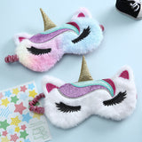 Sequins Cute Unicorn Eye Mask Colorful Fur Sleeping Eye Band For Women Winter Travel Cute Soft Animal Eye Cover Blindfold