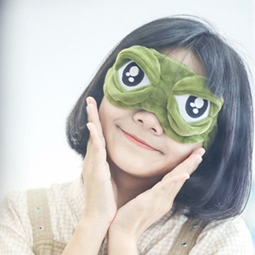 Lovely Frogs Eyes Sleeping Eye Mask Elastic Bandage Eyeshade Cover Eyepatch Blindfolds For Flight Travel Office Night Sleep