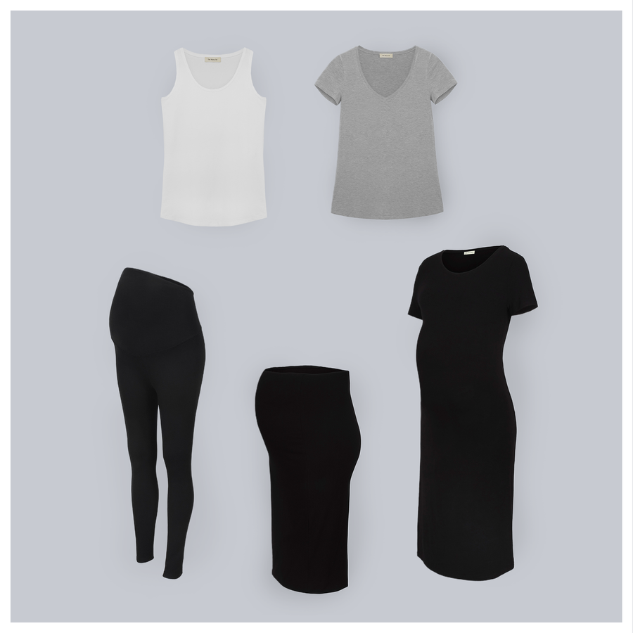 The Minimalist Set - 5 pieces. The Maternity Basics Set. All you need from beginning to beyond. The Tank in White, The T-Shirt in Grey Marle, The Legging, The Pencil Skirt, and The T-Shirt Dress.