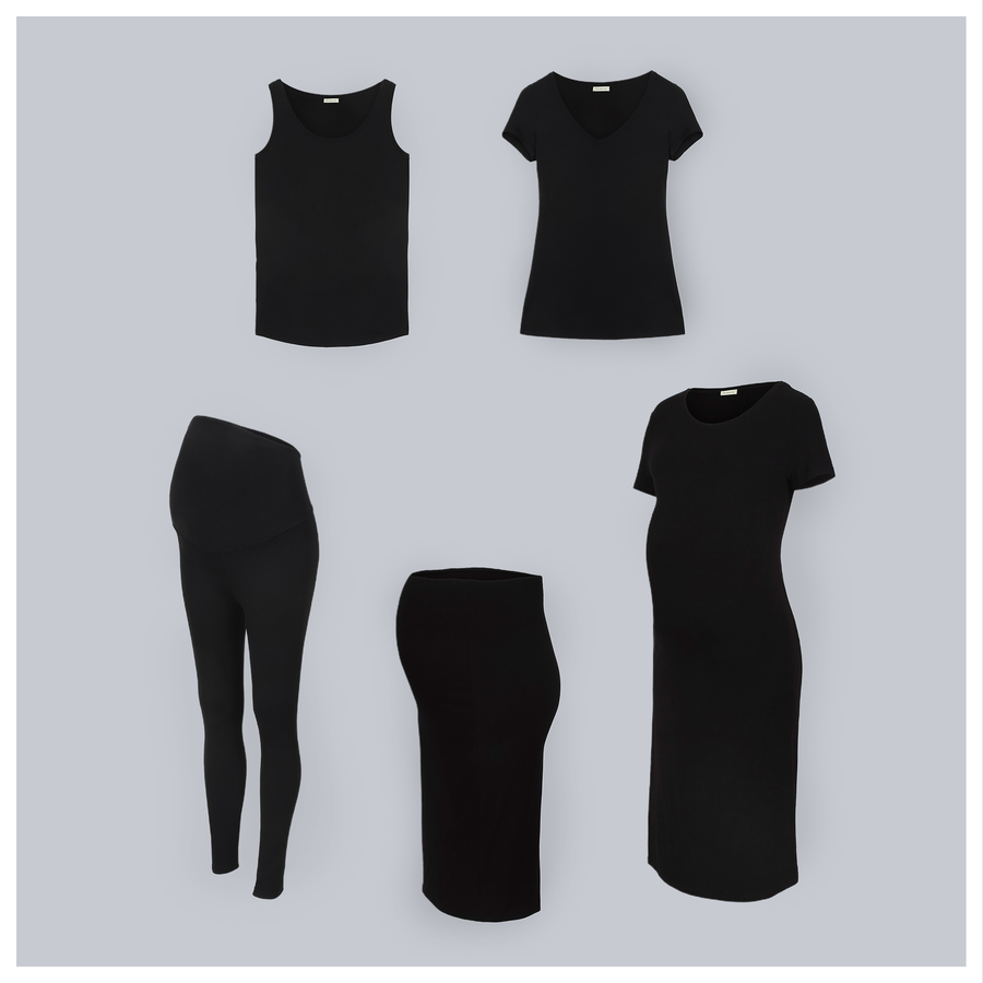 The Minimalist Set - 5 pieces. The Maternity Basics Set. All you need from beginning to beyond. The Tank, The T-Shirt, The Legging, The Pencil Skirt, and The T-Shirt Dress. Colour Black.