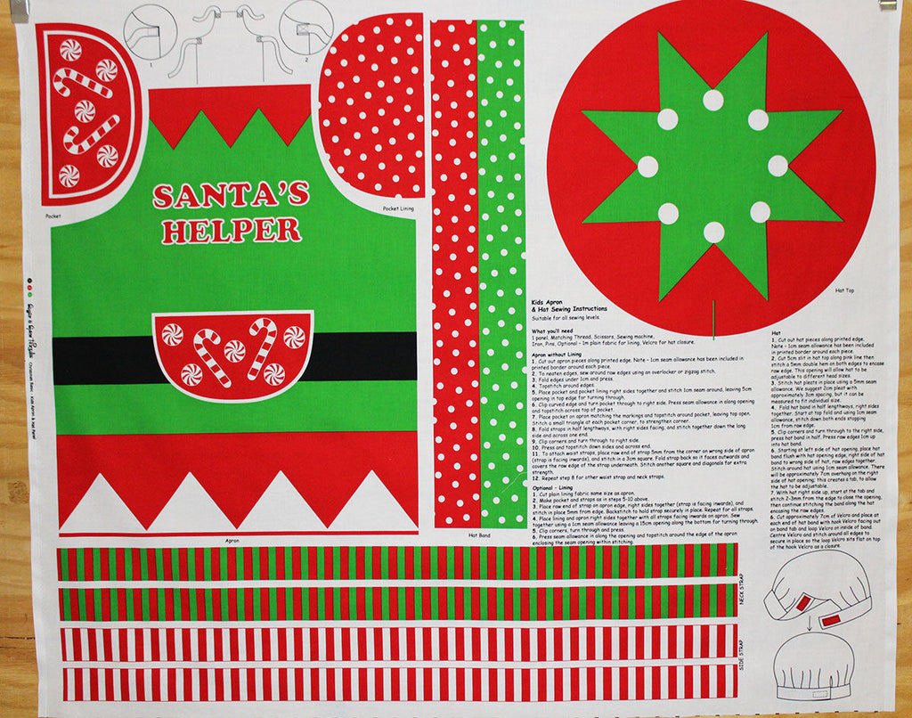 Children's Christmas Dress-Up Santa's Helper Panel Print Craft Fabric - The Textile Centre