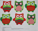 Children's Christmas Happy Owl Soft Toy Panel Print Cotton Craft Fabric