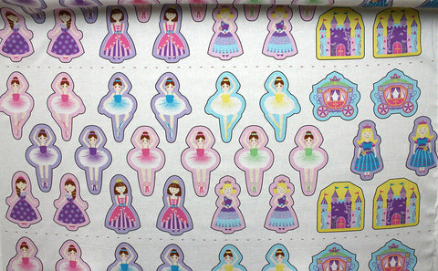 SALE!!! Applique Fairytale Princess & Ballerina Panel Print Craft Fabric