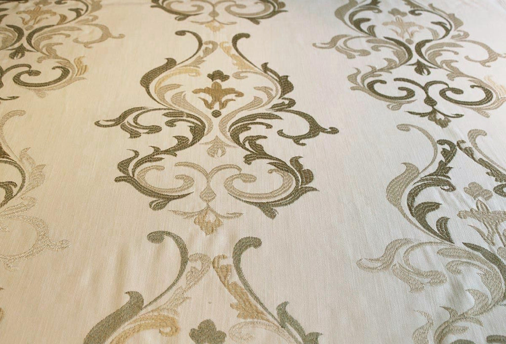 SALE!!! Mid Regency Linen Look Embroidered Curtain Fabric Material (Light Cream/12) - The Textile Centre
