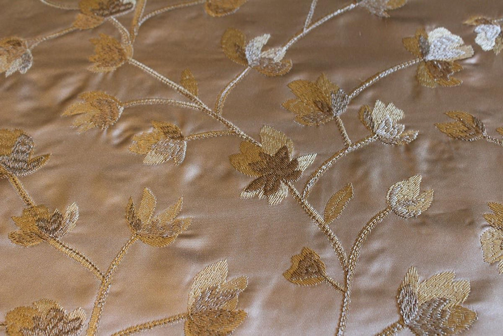 All Over Floral Silky Embroidered Curtain Fabric Material (Mid Champagne/26) - The Textile Centre