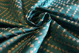 Greek Key Knotted Silky Slub Embroidered Curtain Fabric Material (Teal/31) - The Textile Centre