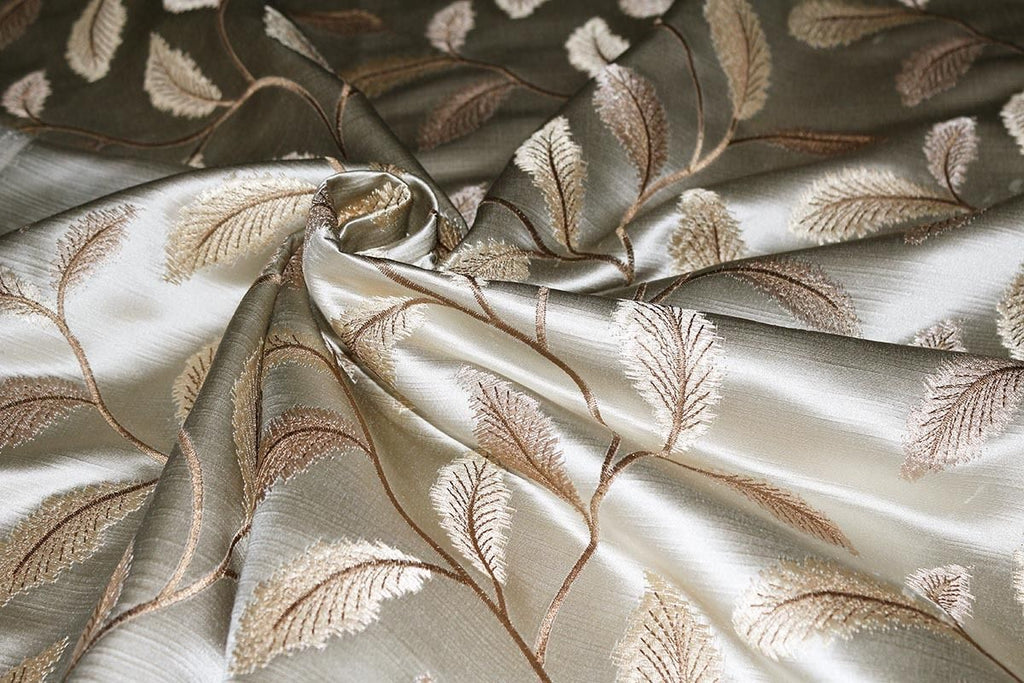 Autumn Leaves Silky Slub Embroidered Curtain Fabric Material (Cream/41) - The Textile Centre