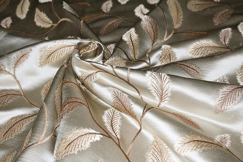 SALE!!! Autumn Leaves Silky Slub Embroidered Curtain Fabric Material (Cream/41)