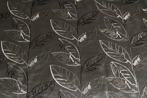 SALE!!! Large Leaf Faux Silk Slub Embroidered Curtain Fabric Material (Dark Taupe/47)