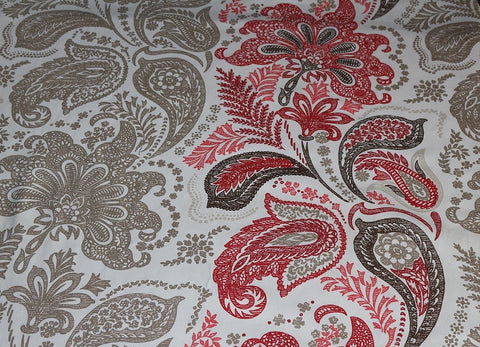 Ashley Wilde Ethnic Paisley Cotton Sateen Curtain Fabric Material (Ivory/Red)