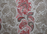 Ashley Wilde Ethnic Paisley Cotton Sateen Curtain Fabric Material (Ivory/Red) - The Textile Centre