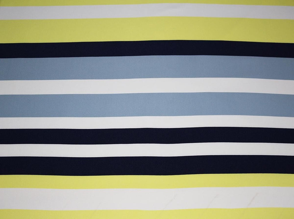 Irregular Bold Stripe Stretch Crepe Dress Fabric Material (Midnight/Yellow) - The Textile Centre