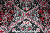 Dark Regency Paisley Print Fine Lurex Yoryu Dress Fabric Material (Black/Red) - The Textile Centre
