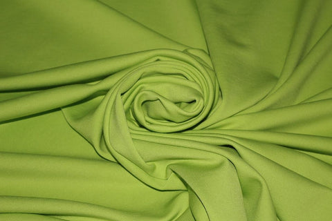 Plain Light Weight Cotton Feel Poly Scuba Dress Fabric Material (Bright Lime)