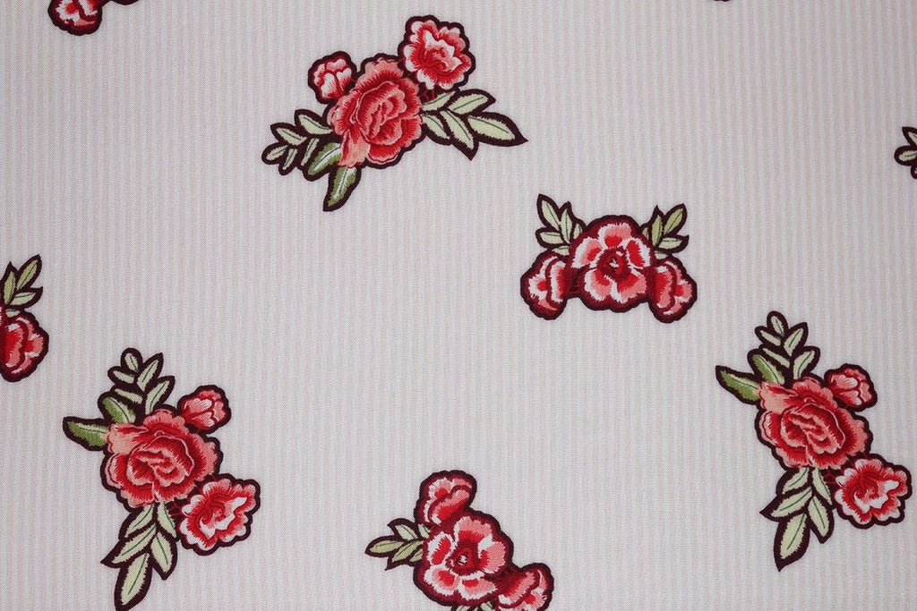 Embroidered Motif Floral Print & Stripe Spun Viscose Dress Fabric Material(Pink)