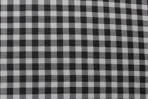 Gingham Print Washed Chiffon Dress Fabric Material (Black/White)
