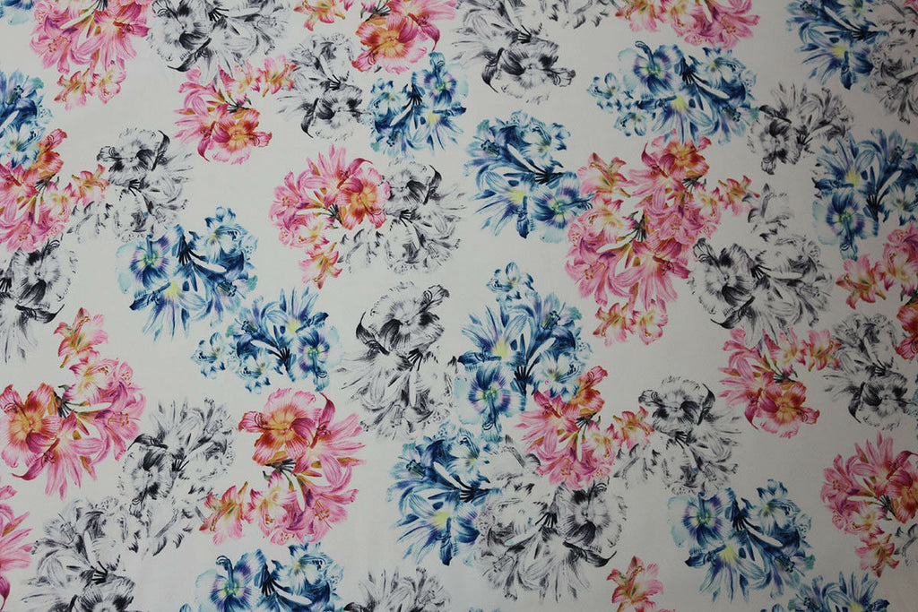 Summer Days Floral Print Georgette Dress Fabric Material (White) - The Textile Centre