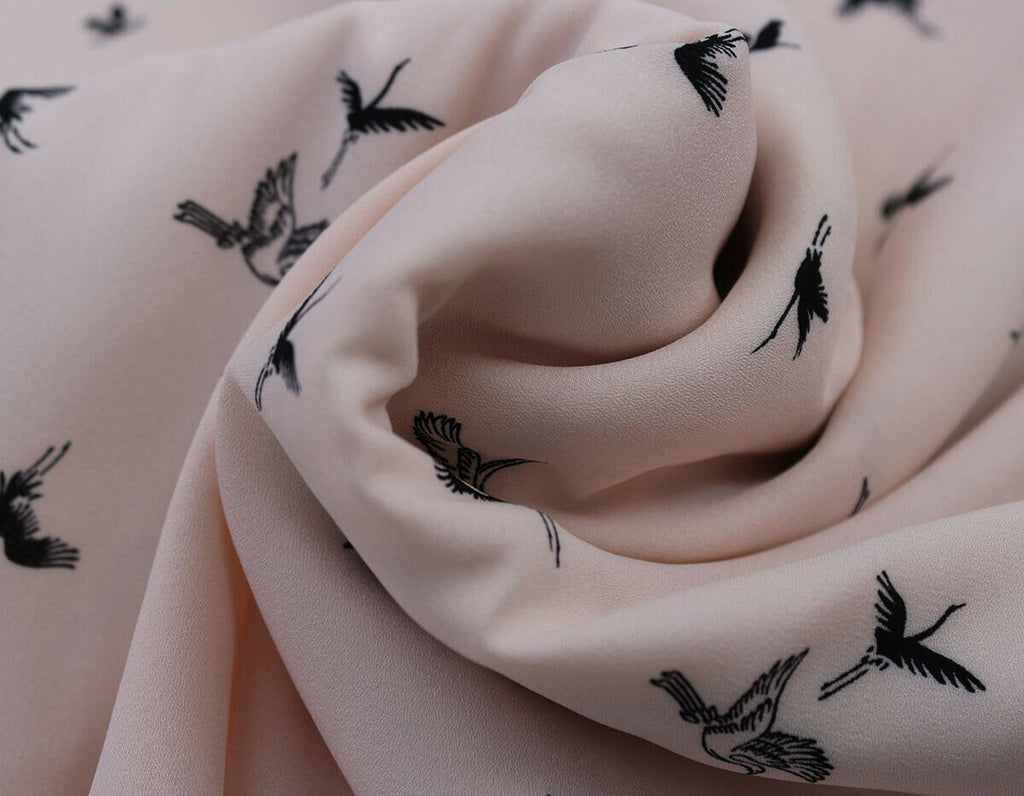 Angelic Pure Flying Stork Print Georgette Dress Fabric Material (Blush Pink) - The Textile Centre