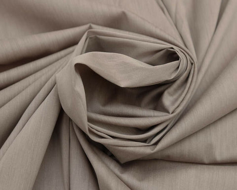 Light Weight Silky Melange Cotton Spandex Shirting Fabric Material (Dry Stone)