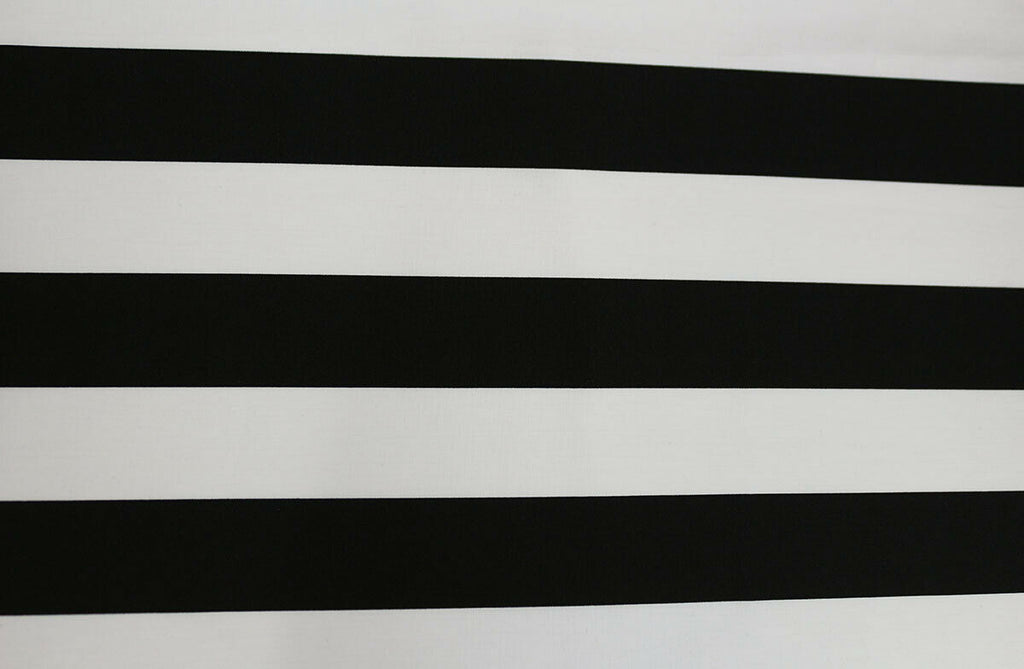 Fashionable Black & Ivory Thick Stripes Cotton Poplin Dress Fabric Material - The Textile Centre