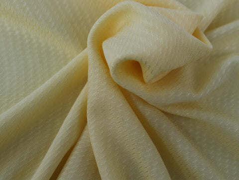 Ditsy Trellis 100% Spun Viscose Jacquard Dress Fabric Material (Sherbet Yellow)