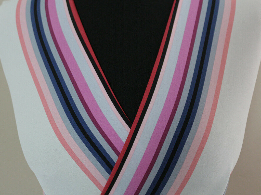Sophisticated Multi Stripes Polyester Marocain Dress Fabric Material (Pinks)