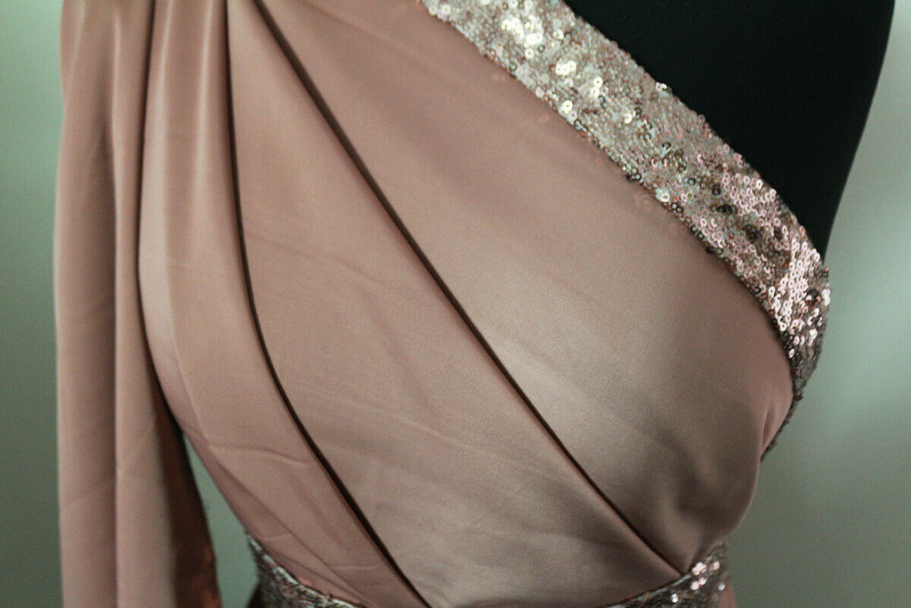 Delightful Plain Muted Salmon Smooth Matte Satin Dress Fabric Material - The Textile Centre
