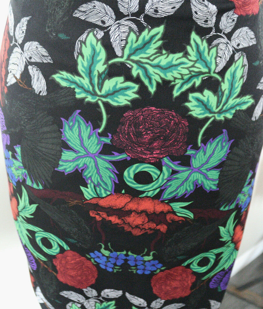 Mysterious Gothic Rose's & Ravens American Crepe Dress Fabric Material (Black) - The Textile Centre
