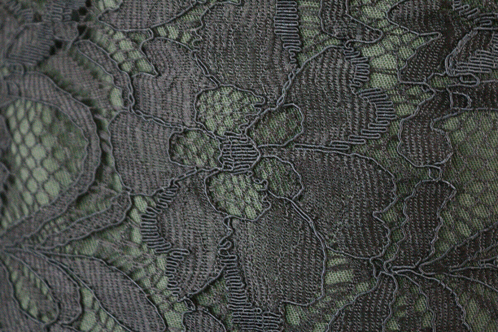 Floral Lightly Corded Double Uncut-Scallop Lace Dress Fabric Material (Black) - The Textile Centre
