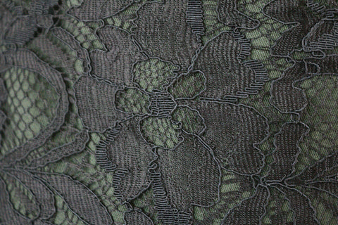 Floral Lightly Corded Double Uncut-Scallop Lace Dress Fabric Material (Black)