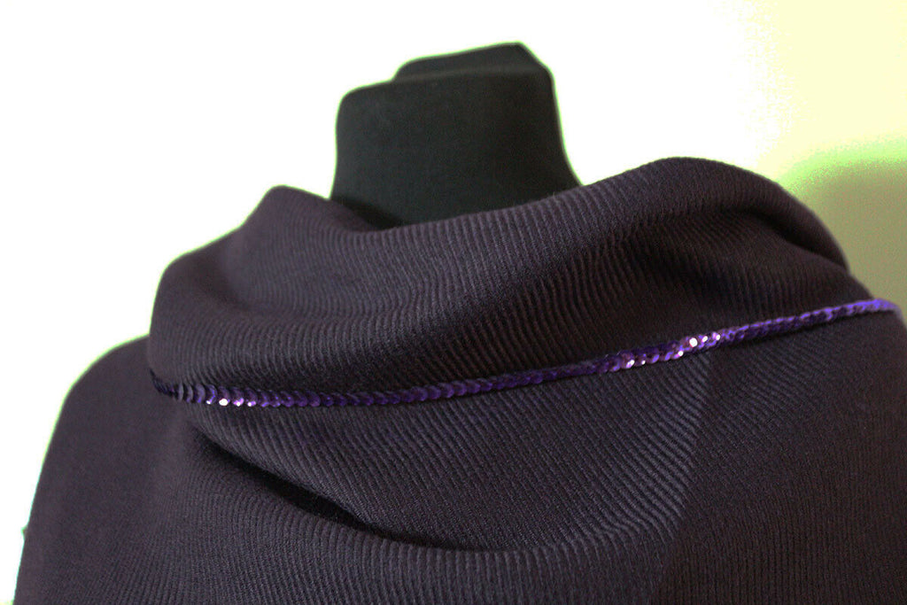 Deep Purple Diagonal Rib Polyester Blend Coating Dress Fabric Material (29) - The Textile Centre