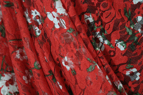 Fabulous Festive Floral Soft Printed Stretch Lace Dress Fabric Material (Red)