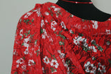 Fabulous Festive Floral Soft Printed Stretch Lace Dress Fabric Material (Red) - The Textile Centre