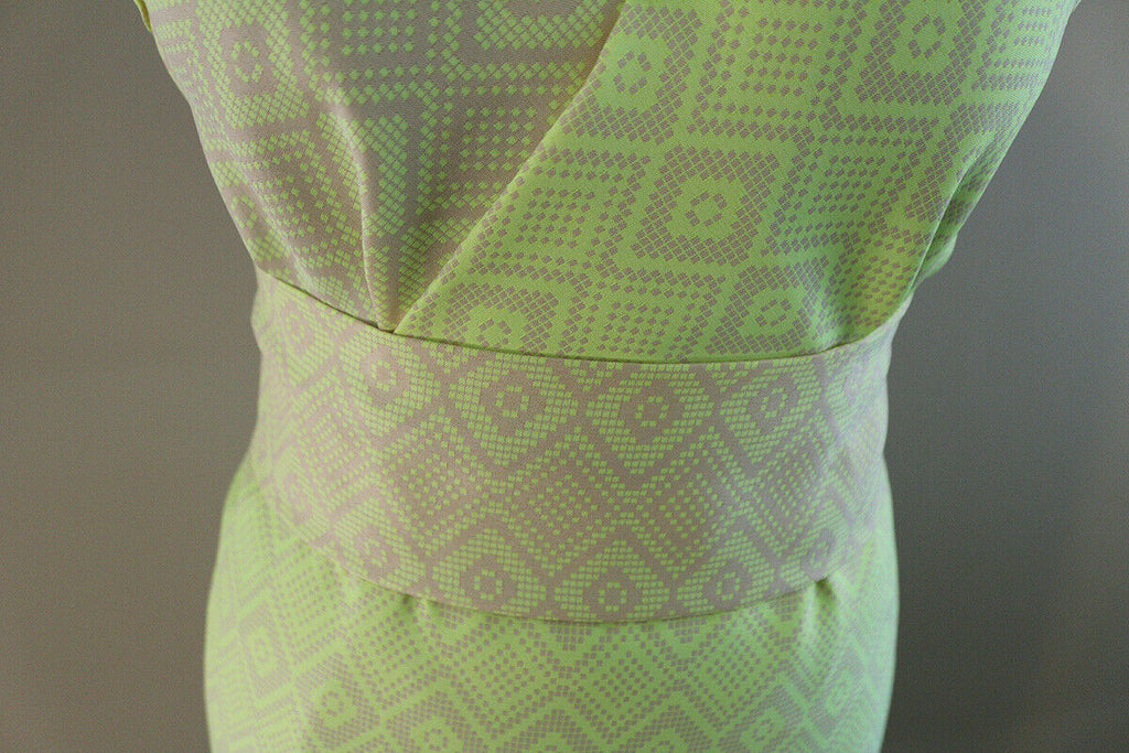 Neon Geometric Pixalated Smooth Satin Jacquard Suiting Dress Fabric Material