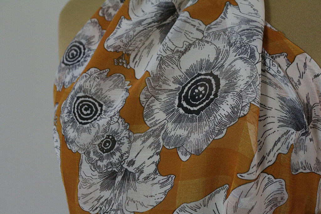 Wild Jungle Sketched Floral Check Woven Chiffon Dress Fabric Material (Orange)