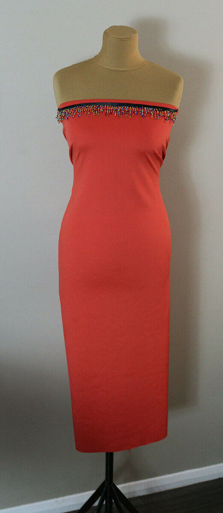 Plain Super Soft Baby Scuba Jersey Dress Fabric Material (Bright Orange) - The Textile Centre