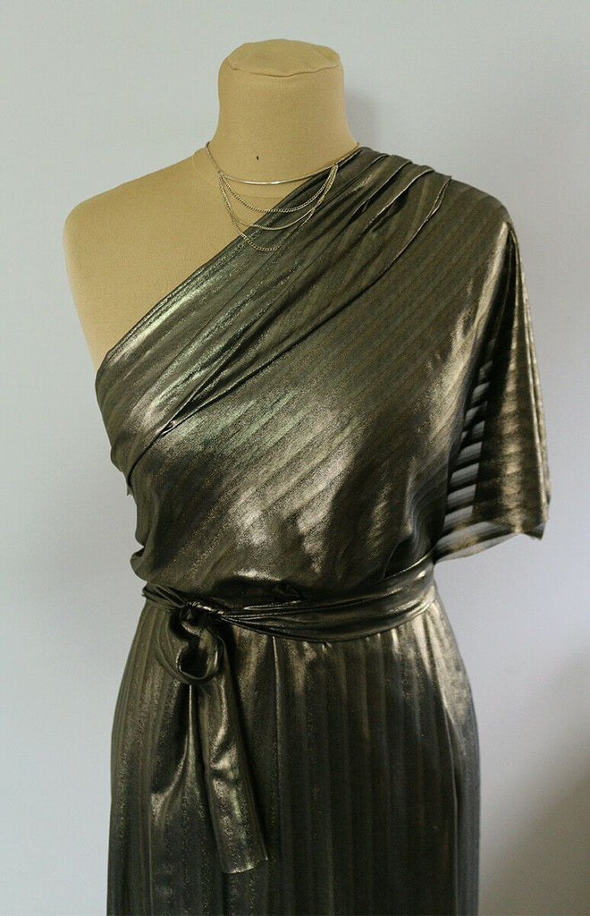 Bronze Gold Foiled Metallic Striped Jacquard Chiffon Dress Fabric Material - The Textile Centre