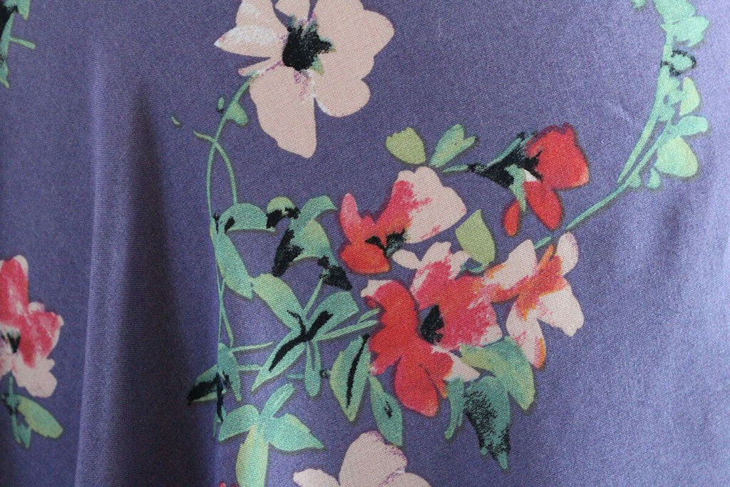 Washed Lavender Floral Print 100% Spun Viscose Voile Dress Fabric Material - The Textile Centre