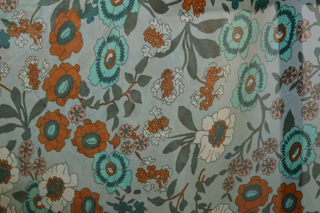 Beautiful Washed Vintage Garden Floral Print Chiffon Dress Fabric Material - The Textile Centre