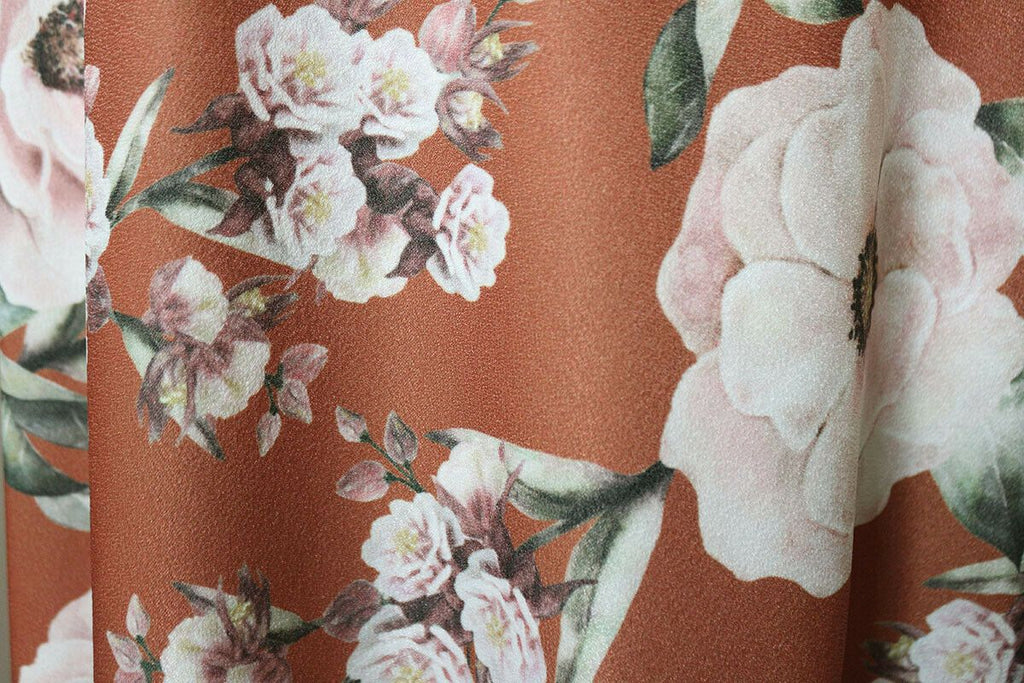 Angelic Realistic Floral Stretch Crepe Poly Jersey Dress Fabric Material (Rust) - The Textile Centre