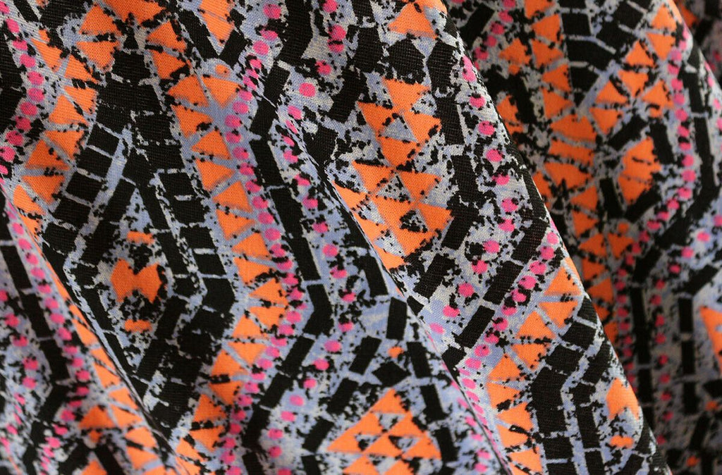 Inca Tribal Inspired Neon Print Viscose Elastane Jersey Dress Fabric Material - The Textile Centre