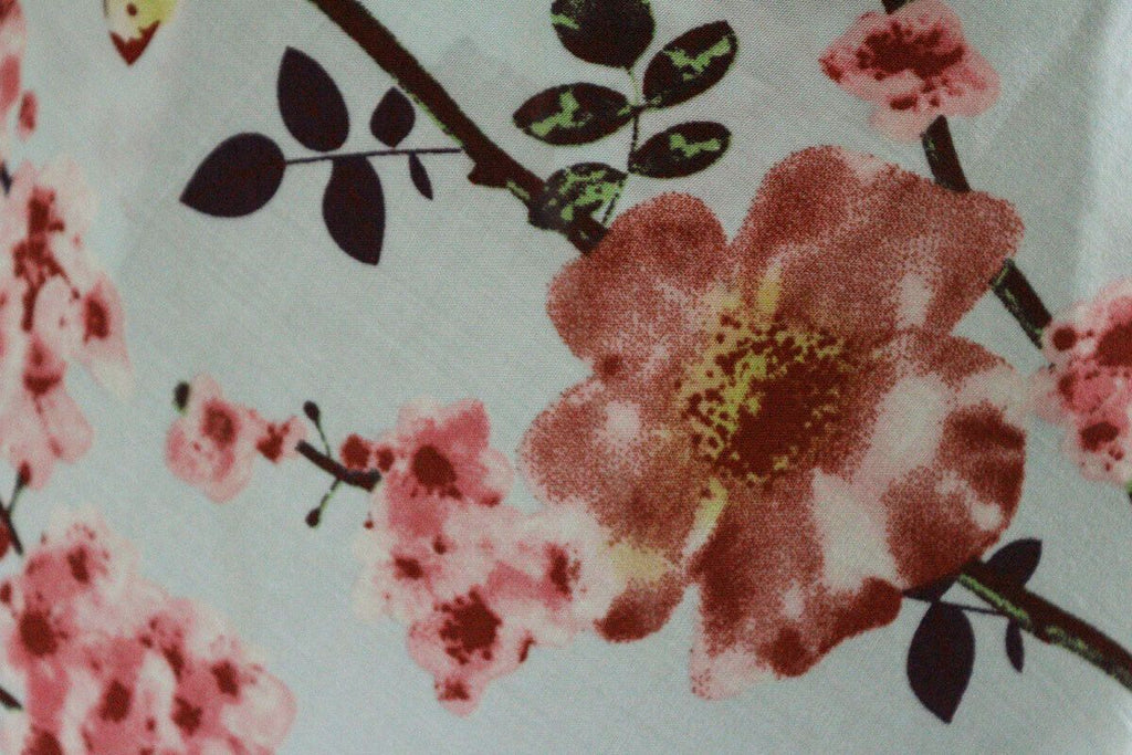 Elegant Splodge Floral Vines Print 100% Spun Viscose Dress Fabric Material - The Textile Centre