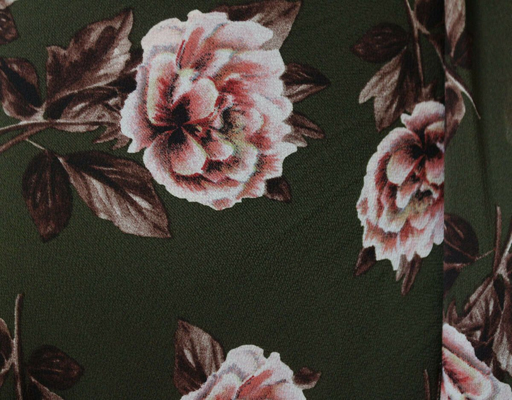 Falling Fire Flowers Autumnal Print Poly Bubble Crepe Dress Fabric Material - The Textile Centre
