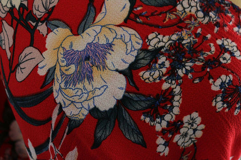 Moody Blue Sketched Floral Poly Bubble Crepe Dress Fabric Material (Real Red)