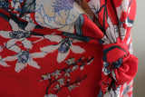 Moody Blue Sketched Floral Poly Bubble Crepe Dress Fabric Material (Real Red) - The Textile Centre
